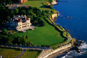 ca. 2001, Newport, Aquidneck Island, Rhode Island, USA --- An aerial view shows a mansion sitting alongside the Cliff Walk, a National Recreation Trail that runs along the eastern shore of Newport, Rhode Island. --- Image by © Bob Krist/Corbis
